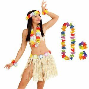 4Pcs LEI HULA SET Adult Hawaiian Fancy Dress Costume Beach Hen Party Ladies UK