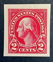 US Stamps, Scott #577 imperf, 2c 1925 XF/Superb M/NH. Deep carmine color. Jumbo!