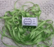 """100%PURE SILK EMBROIDERY RIBBON 1/8""""[4MM] WIDE 25 YARDS~ LEAF/GREEN~ COLOR"""