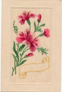 WW1 SILK EMBROIDED POSTCARD FLOWERS CARNATION