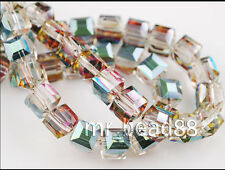 20pcs Hot Colorized Glass Crystal Faceted Cube Loose Beads 6mm Spacer DIY Crafts