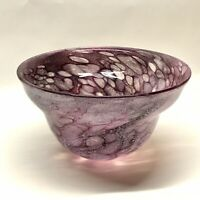 Handcrafted Studio Purple Spotted Art Glass Center Piece Bowl