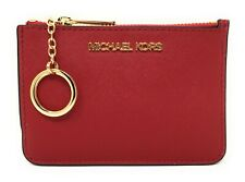 MICHAEL KORS JET SET TRAVEL SAFFIANO TOP ZIP COIN POUCH W/ ID KEY RING CARD CASE