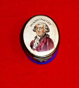 "Vintage 2"" Porcelain Pill Box with Image George Washington"