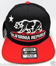 CALIFORNIA REPUBLIC Snapback Cap Hat CALI Bear Flag Black Red Caps Hats NWT