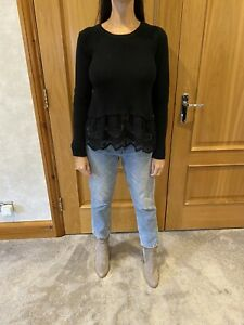 Maje Wool/cotton Blend Jumper With Broderie Detail/size 1/Uk 8