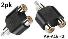 2pk RCA Plug to 2-RCA Jack Audio Video Splitter Adapter