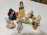 Disney Sri Lanka Snow White & Seven Dwarfs Porcelain Figurines 6 Dwarfs + Witch