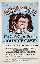 *JOHNNY CASH * HIGH QUALITY EARLY RARE VINTAGE 1977 CONCERT POSTER *