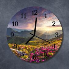 Glass Wall Clock Kitchen Clocks 30 cm round silent Landscape Multi-Coloured