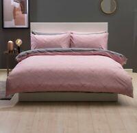 Striking Design Duvet Cover Set in Blush Pink & Grey Double Bed Size Reversible