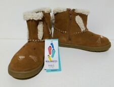 Girls Tan Walk mates Suede Leather boots with furry lining Bunny size UK 9.5