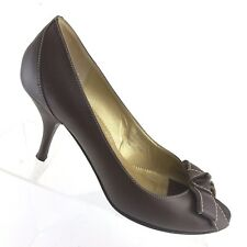 J Crew Brown Leather Heels Bow Detail Peep Toe Pumps ITALY Womens Shoe SIZE 9