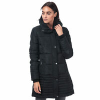 Elle Womens Flore Full Zip Hooded Padded Fully Lined Fitted Coat in Black