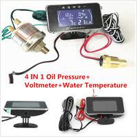 4 in1 LCD Digital Display Car Voltmeter/Water Temp/Oil Pressure/Fuel Gauge Set