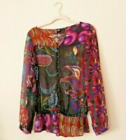 Desigual Colorful Sheer Blouse Women's Long Sleeve Floral Button Down Top Sz M