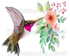 Furniture Decal Vintage Image Transfer Hummingbird Glower Upcycle Shabby Chic