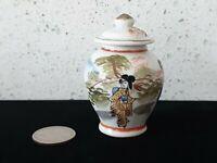 Antique Ceramic Made Japan Collector Figurine Vase Jar Lid Vintage Painted Asia