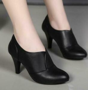 Women PU Leather Pointy Toe Kitten Heels Office Ladies Slip On OL Dress Shoes sz