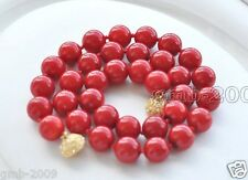 "10mm Coral Red South Sea Shell Pearl Round Gemstone Necklace 18""AAA"