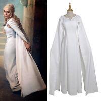 Cosplay Mother of Dragons Game of Thrones Daenerys Targaryen Costume Dress White