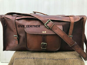 Handmade Flap Over Goat Leather Travel  Luggage Duffel Gym Bag Holdall Weekend