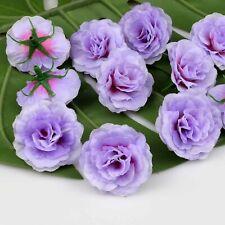 20X Artificial Fake Flower Heads Bulk Purple Silk Small Rose Floral Craft Decor