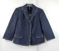 NEW TALBOTS jacket blazer denim chambray grace fit 3/4 sleeve blue medium 8