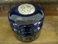Bellissimo PORTAGIOIE Ricami Dec. Colore BLU 13x13 cm h 12 cm SILVER GLASS