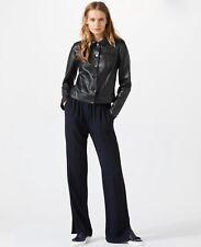 Jigsaw Clean Leather Trucker Jacket, Black Size 10, RRP £350