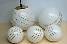 White Glass lamp Shades, Milky / Gold Globe Lampshades Fitting Lamp Replacements
