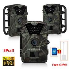 3pcs 1080P 12MP Hunting Scouting Trail Camera Night Vision Game Wildlife IR+Gift