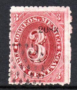 Mexico 1882 Foreign Mail Small Numeral 3¢ Rose Carmine Puebla VFU MX47
