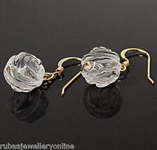 10mm GENUINE ROCK-CRYSTAL CARVED ROSE BEAD / BALL 14k GOLD FILLED DROP EARRINGS