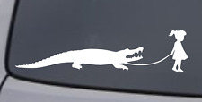 GIRL WALKING A ALLIGATOR Vinyl Decal Sticker Car Window Wall Bumper Funny Animal
