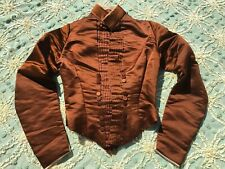 Antique Victorian Toffee Brown Silk Satin Dress Bodice Pin Tucks Buttons Vintage