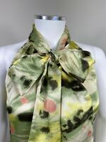 Ted Baker Top 1 UK 8 Green Multicolour Blouse Pussy Bow Sleeveless Party Silk