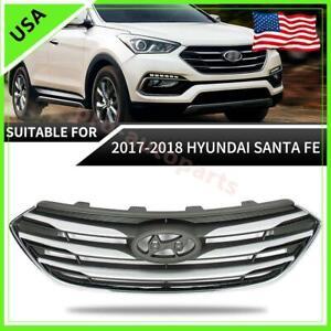 Fits For 2017-2018 Hyundai Santa Fe Sport Front Upper Radiator Grille W/O Camera