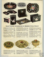 1958 PAPER AD Tole Ware Toleware Hand Painted California Pottery Lazy Susan