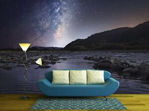 Wall26 - Starry Sky over Mountain River - Wall Mural Home Decor - 100x144 inches