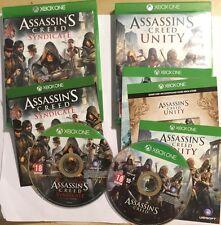 2x Xbox One XB1 Juegos Assassin's Creed Unity + sindicato Discos V. Buenas Condiciones