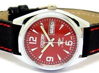 MEN,S CITIZEN AUTOMATIC STEEL VINTAGE DAY DATE RED DIAL WRIST WATCH RUN ORDER,,,