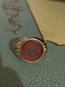 18k Gold Solid Gold Wax Seal  Medusa Men Ring Size 7