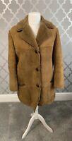 Vintage Womans Leather Sheepskin Flying Aviator Bomber Jacket Coat Large Suede