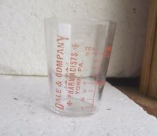 YORK,PA DALE & CO PHARMACISTS ADVERTISING DRUGGIST MEDICINE DOSE GLASS RED PAINT