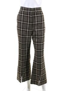 Adam Lippes Womens Wool Plaid Slit Leg Dress Pants Brown 10 LL19LL
