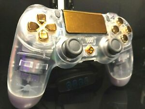 "[Sony] Gold PS4 Controller Custom ""Transparent & GOLD"" Playstation 4 AUTHENTIC"
