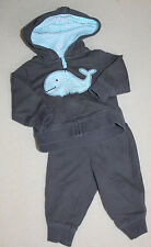 Carters light weight baby boy whale hoodie and matching bottoms Newborn