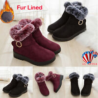 Womens Ladies Snow Ankle Boots Warm Winter Fur Lined Waterproof  Grip Sole Shoes