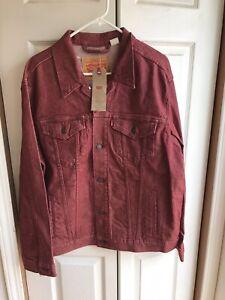 NWT Men's Levi's Red Denim Jacket Trucker Long Sleeve RARE Size XL